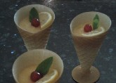 Three lemon and melon sorbets